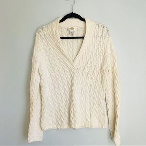 Talbots Petite Wrap Neck Cream Cable Knit Sweater